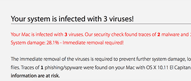 Your mac is infected with 3 viruses Virus