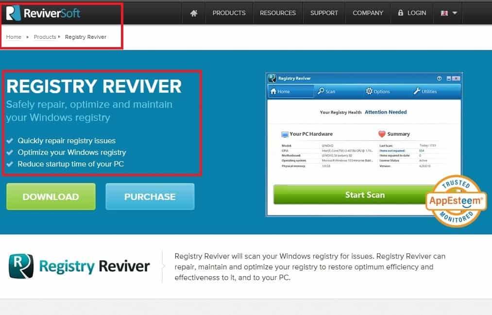 Reviversoft Registry Reviver Virus