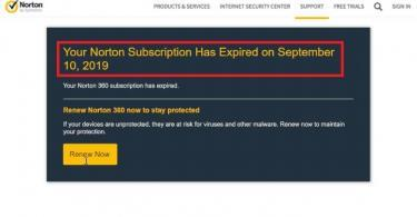 Norton Subscription Expired