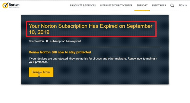 Norton Subscription Expired