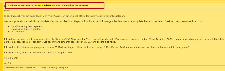 VLC Updater Malware