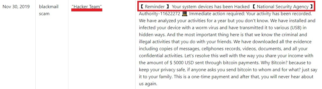Your system devices has been hacked