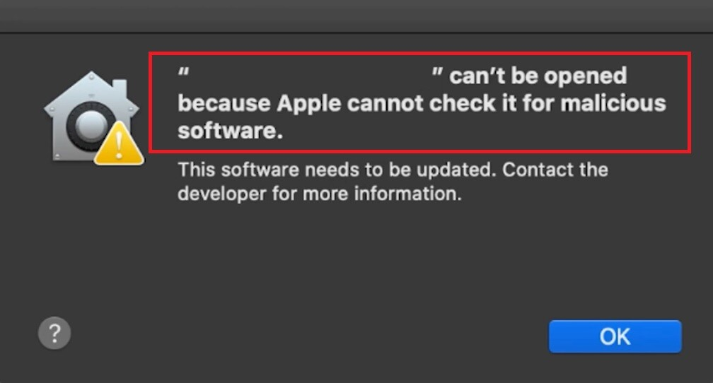 Apple Cannot Check It for Malicious Software