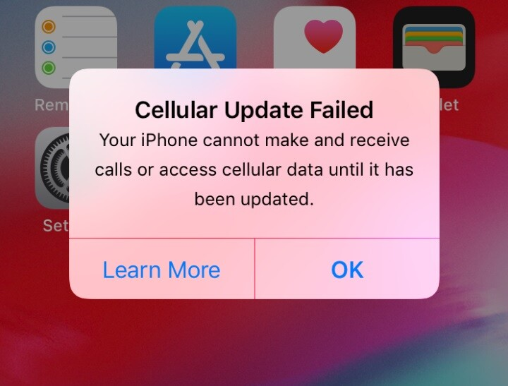 Cellular Update Failed
