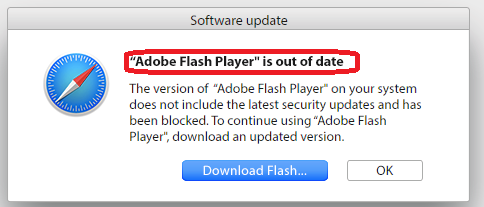 Adobe Flash Player is out of date