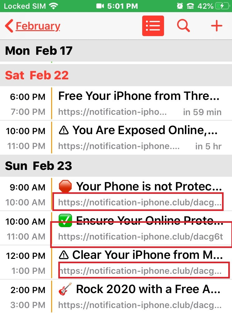 Notification iphone club Calendar Virus