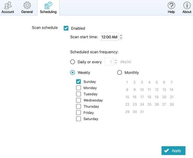 Scan Schedule