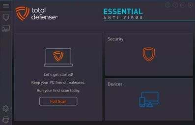 Total Defense Essential Antivirus Main Panel