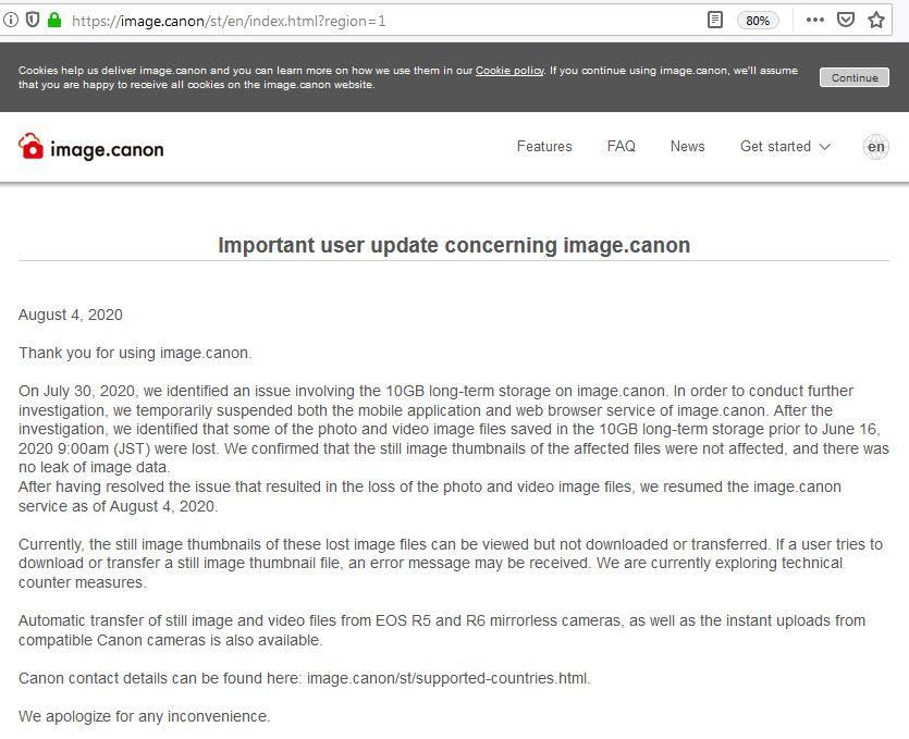 Canon User Update