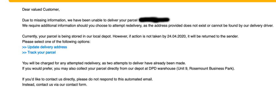 DPD Delivery Email
