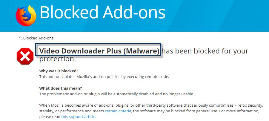 Video Downloader PLUS Malware