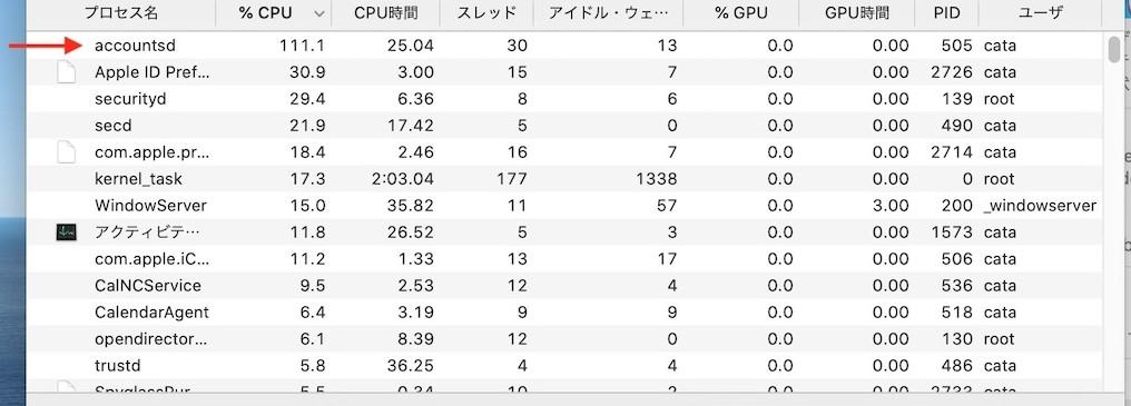 Accountsd Process 500 Percent CPU After Catalina 10 15 7 Update 2
