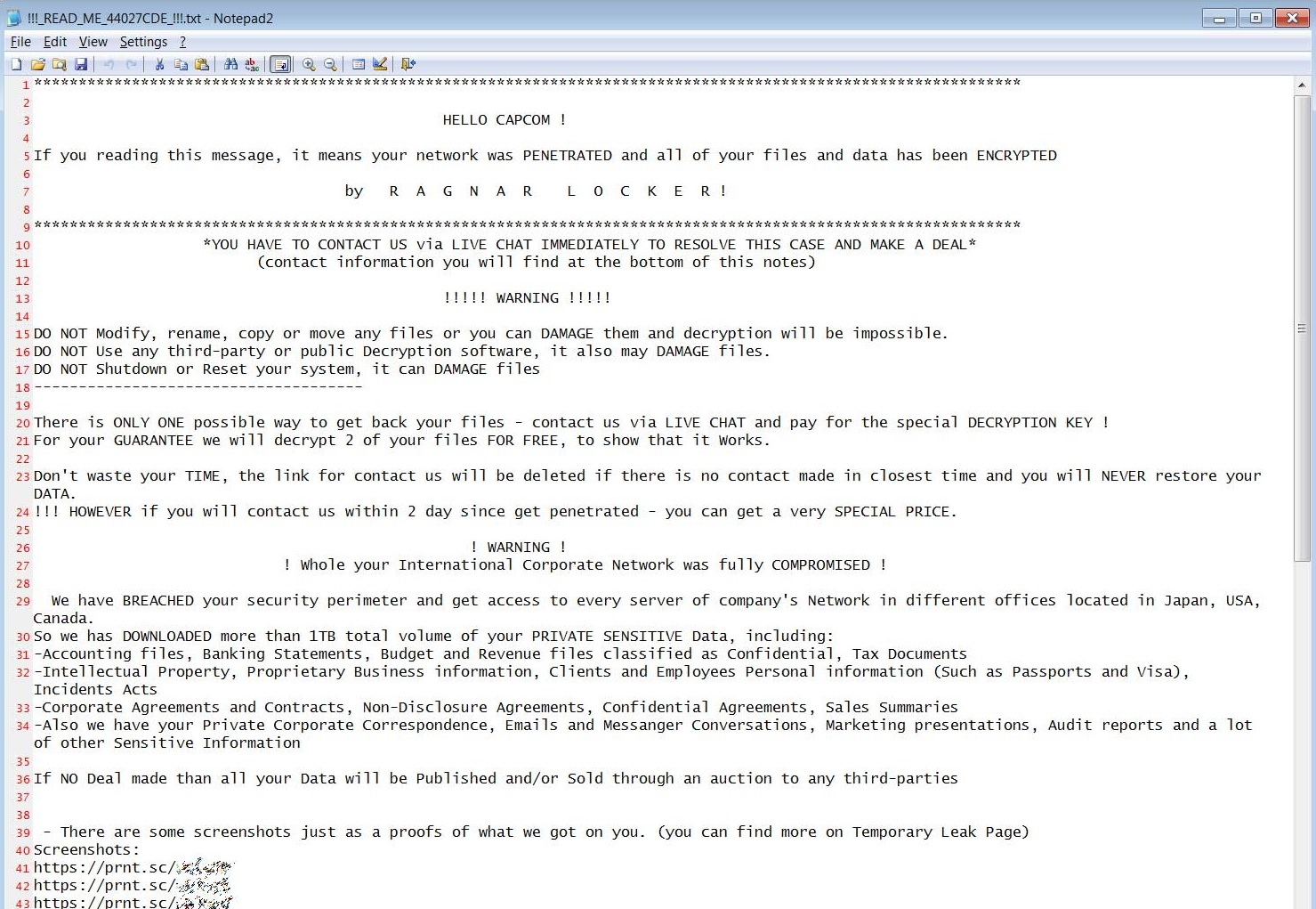 capcom ragnar ransomware