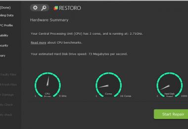 Restoro Hardware Summary 380x260