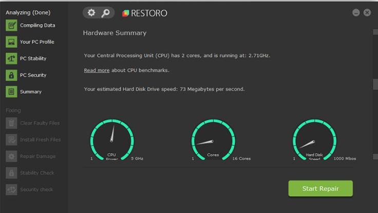 Restoro Hardware Summary