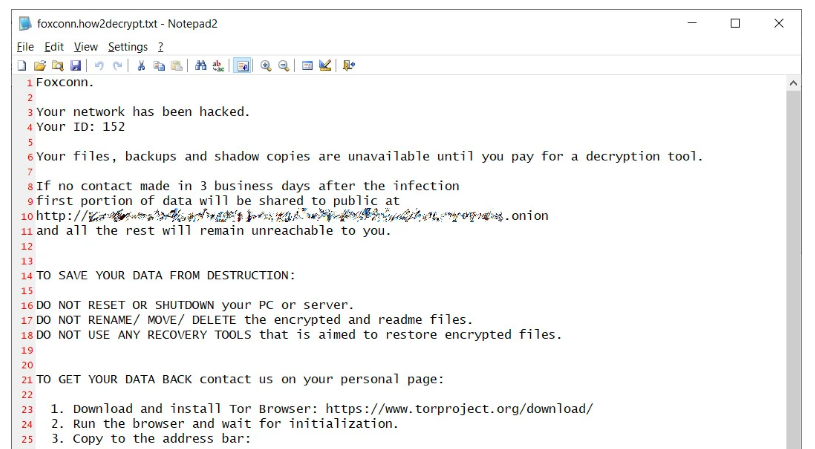 Ransom Note Foxconn
