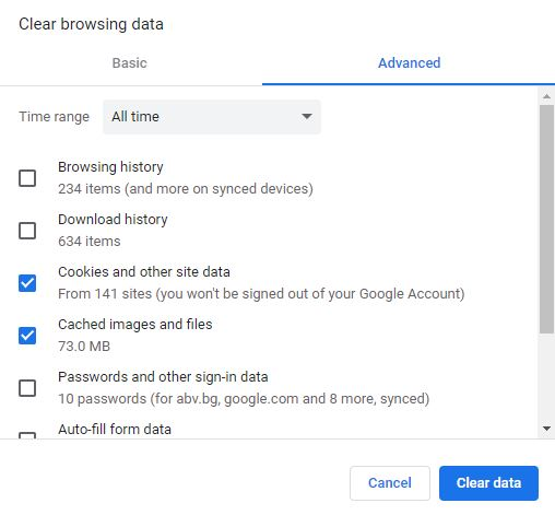 Chrome Clear Data