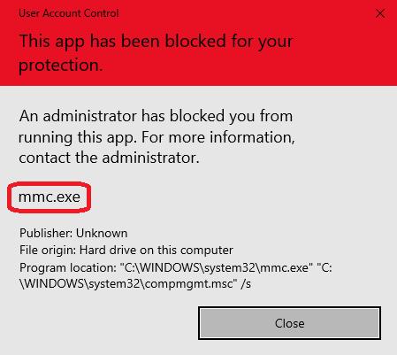 Mmc.exe blocked