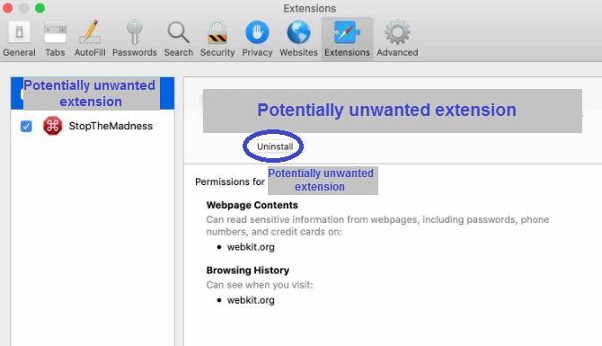 Remove Safari Extension